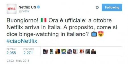 Netflix tweet ufficiale arrivo in italia