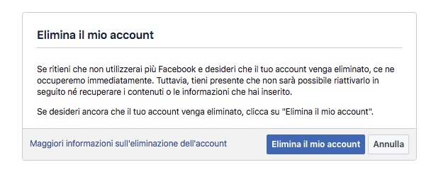 Come cancellarsi da Facebook definitivamente