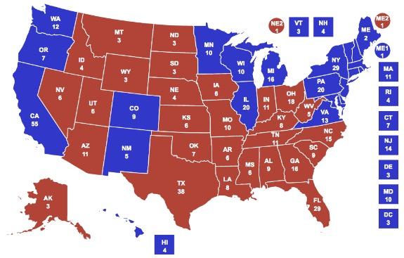 mappa voto elezione USA 2016