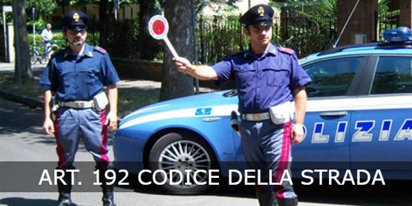 art. 192 codice della strada
